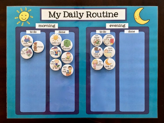 Sports Responsibility Chart Morning Afternoon Night Weekly Task Chart Printed Laminated Basketball Personalized Chore Chart For Kids
