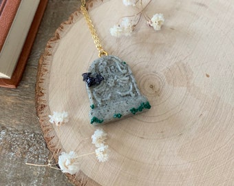 Tombstone Necklace - Gravestone Jewelry - Gothic Accessories - Dark Cottagecore