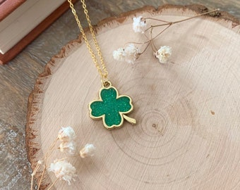 Four-Leaf Clover Necklace - Clover Jewelry - Green Shamrock Pendant - Good Luck For 2021 - Dainty Gold Necklace - Cottagecore Necklace
