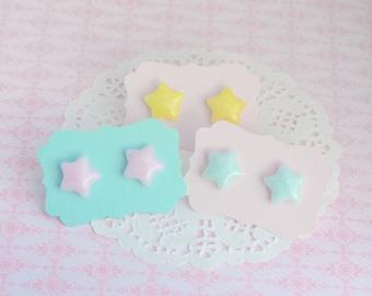 Pastel Star Earrings - Pastel Studs - Hypoallergenic Earrings