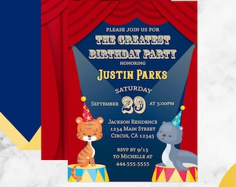 Circus Themed Kids Birthday Invitation with Tigers and Seals spotlighted with modern and vintage typography.