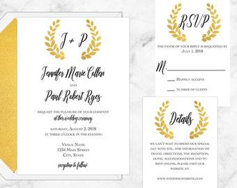 Golden Roman Wreath Wedding Suite, Printable Custom Invitations