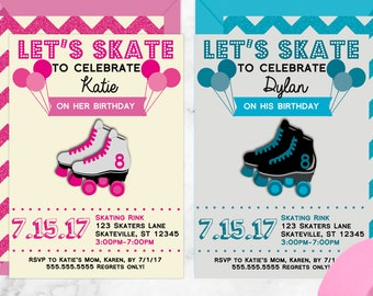 Lets Skate Kid's Birthday Party Invitations, Roller Skating Party