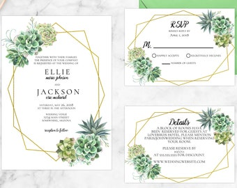 Stylish Succulent Wedding Invitations
