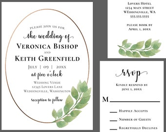 Luxury Eucalyptus Wedding Invitation Suite