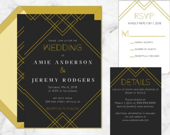 Art Deco Printable Wedding Invitations