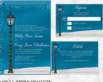 Vintage Victorian Lamp Post Winter Wedding Invitations, Printable Custom Wedding invitations that are perfect for winter weddings