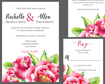 Pink Watercolor Ponies Wedding Invitation Suite