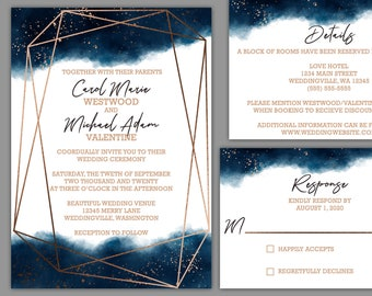 Watercolor Geometric Splash Wedding Invitaiton Suite