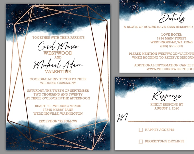 Featured listing image: Watercolor Geometric Splash Wedding Invitaiton Suite