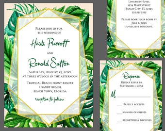 Tropical Foliage Wedding Invitation Suite