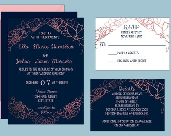 Navy and Rose Gold Floral Wedding Invitations in JPEG or PDF Printable Format