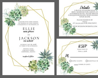 Simple Succulent Wedding Invitation Suite