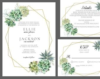 Simple Succulent Wedding Invitation Suite