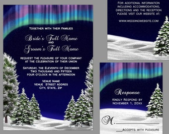 Northern Lights Wedding Invitation Suite
