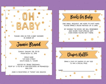 Oh Baby Faux-Gold Foil Baby Shower Invitation