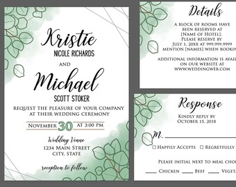Watercolor Sand Dollar Eucalyptus Wedding Invitations