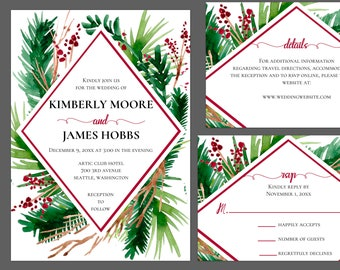 Winter Evergreen and Berries Geometric Wedding Suite