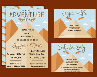 The Adventure Begins Fall Baby Shower Invitation