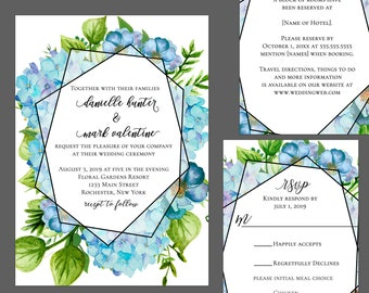 Hydregena Garden Wedding Invitation Suite
