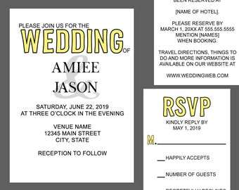 Color Pop Wedding Invitation Suite