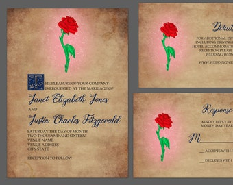 Enchanted Rose Story Book Wedding Invitation Suite
