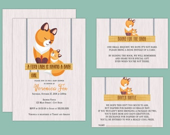 A Foxy Lady is Having a Baby, Fox Themed Baby Shower Invitation