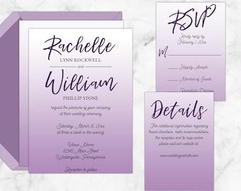 Modern Ombre Wedding Invitations, Invitation Suite, Calligraphy,
