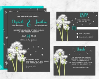 Dandelion Wedding Invitation with Modern Calligraphy, perfect for spring and summer weddings