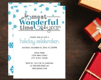 The Most Wonderful Time Holiday Party Invitations