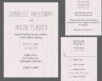 Rustic Modern Wood Wedding Invitation Suite