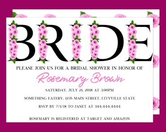 Feminine Flowers Bride Bridal Shower Invitation