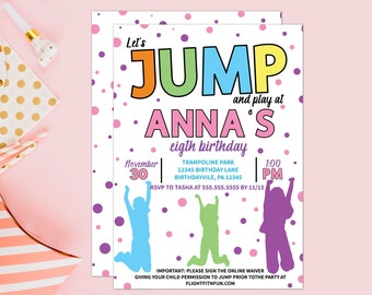 Jump and Play Trampoline Park Party Birthday Invitation