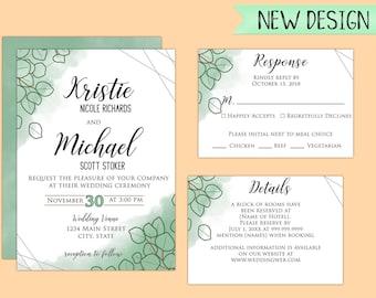 Printable Eucalyptus Wedding Invitation in PDF or JPEG Format
