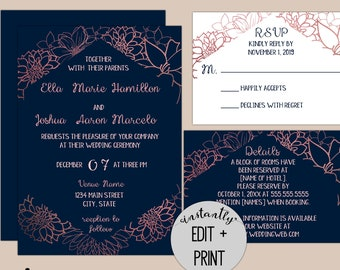Rose Gold Foil Floral Modern Wedding Invitation Suite