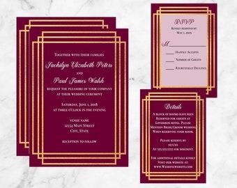 Printable Gold Metallic Stripes Wedding Invitation Suite