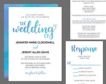 Watercolor Calligraphy Modern Wedding Invitation Suite