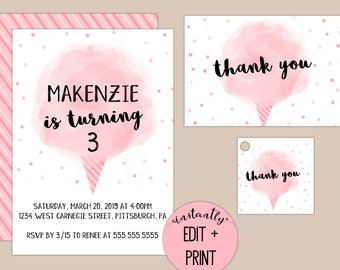 Cotton Candy Birthday Invitation, Printable PDF Format with Thank You Cards and Favor Tags