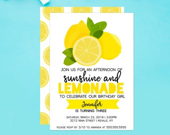 Sunshine and Lemonade Party Birthday Invitation