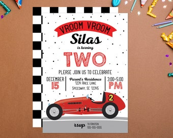 Vroom Vroom Vintage Race Car Birthday Invitation