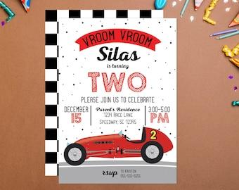 Vroom Vroom Vintage Race Car Birthday Invitation