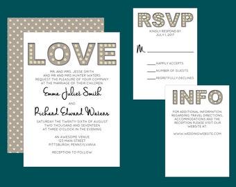 Custom Printable Marquee Lights Wedding Invitations