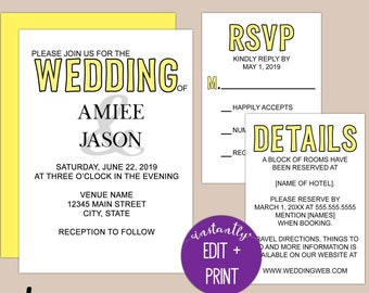 Printable Color Pop Modern Wedding Invitation Template Kit