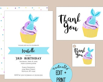 Mermaid Cupcake Kids Birthday Invitation, Editable Print at Home Template