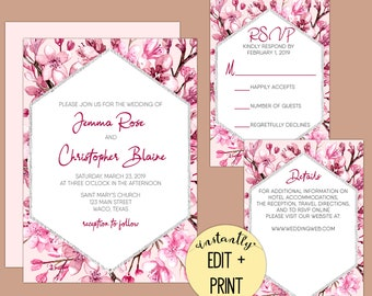 Printable Cherry Blossom Wedding Invitation Template Kit