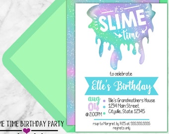 It's Slime Time, Slime Kids Birthday Invitation - Printable Party Invitation - Indoor Birthday Party Theme - PDF, JPEG, or Digital Invite