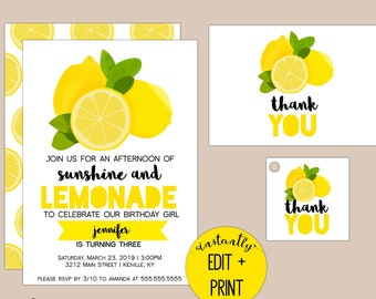 Sunshine and Lemonade, Lemonade Birthday Party Invitation with Free Thank You Cards and Gift Tags Included
