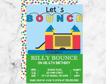 Let's Bounce, Kids Bounce House Birthday Invitation