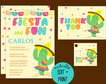 Fiesta and Fun Kids Birthday Party Invitation with Free Thank You Cards and Gift Tags Included