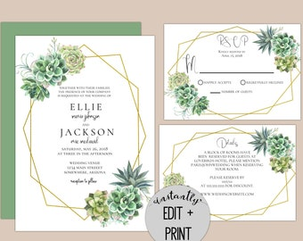 Stylish Succulent Editable Wedding Invitations